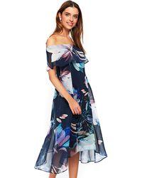 Wallis - Navy Lily Print Bardot Midi Dress - Lyst