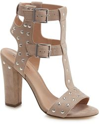 3e3998b73d4 Call It Spring - Taupe Suedette  aferiwien  High Block Heel T-bar Sandals