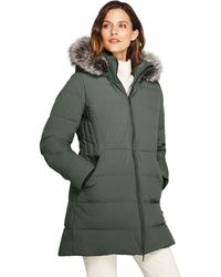 fee1e27688947 Lands  End - Green Faux Fur Hooded And Lined Down Coat With Stretch - Lyst