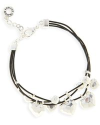 Pilgrim - Silver Plated Hearts Triple Cord Bracelet - Lyst