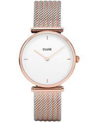 Cluse Ladies And Silver 'triomphe' Analogue Bracelet Watch Cl61003 - Metallic