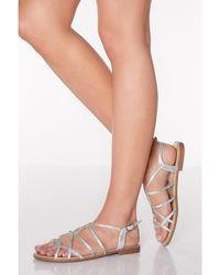 620085b904f Diamante Strappy Flat Sandals - Metallic