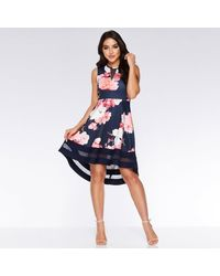 Quiz And Pink Floral Dip Hem Dress - Blue