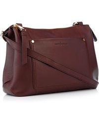 a1f62247bb6e J By Jasper Conran - Wine Red Front Pocket Leather Cross Body Bag - Lyst