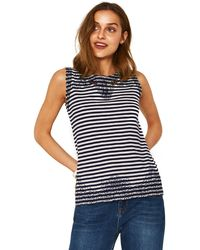 Oasis - Navy Blue Stripe Broderie Trim Shell Top - Lyst