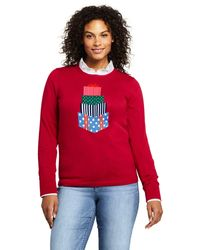 Lands' End Multi Supima Christmas Jumper - Red