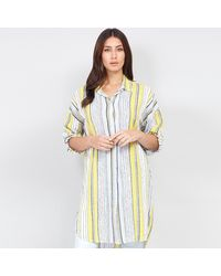 Izabel London Yellow Rolled Sleeves Striped Shirt Top - Multicolour