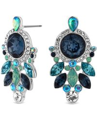 Matthew Williamson - Silver Plated Blue And Green Stone Set Mini Cluster Drop Earrings - Lyst