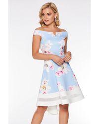 Quiz - Pale Floral Dip Hem Bardot Dress - Lyst