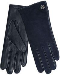 J By Jasper Conran - Navy Leather And Suede Turn Lock Gloves - Lyst