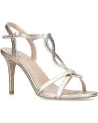 7bd092de1eb Nine West - Gold  demi  Mid Heel Sandals - Lyst