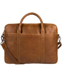 Cultured London - Chestnut 'assignment' Buffalo Leather Work Bag - Lyst