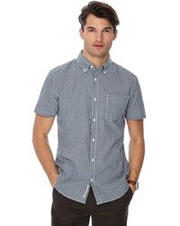 Racing Green - Big And Tall Dark Green Gingham Print Button Down Collar Short Sleeve Tailored Fit Shirt - Lyst
