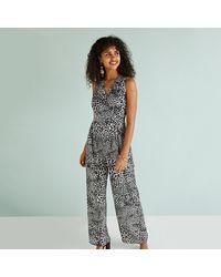 Yumi' Black Leopard Print Jumpsuit - Multicolour