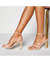 Faith Natural Ankle Strap 'dellie' High Stiletto Heel Sandals - Multicolour