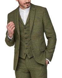 Racing Green Racing Heritage Check Tweed Tailored Fit Suit Jacket - Green