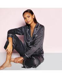J By Jasper Conran Grey Hybrid Print Satin Pyjama Set - Gray