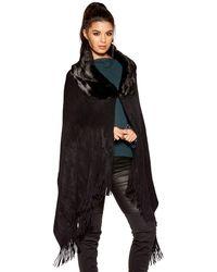 Quiz Black Faux Fur Collar Knit Cape