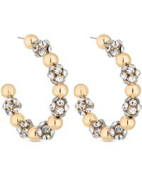 Lipsy - Gold Oversized Pave Ball Hoop Earrings - Lyst