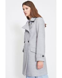 33b23769cdc Miss Selfridge Petite Double Breasted Pea Coat in Gray - Lyst