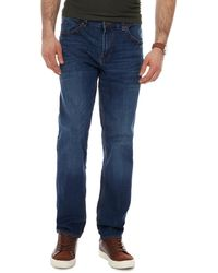 Red Herring Whiskered Mid Wash Slim Jeans - Blue