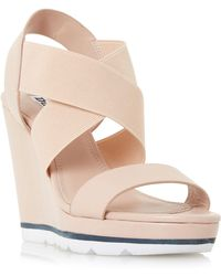 Dune - Natural 'kalifornia' White Outsole Cross Strap Wedge Sandals - Lyst
