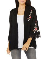Dorothy Perkins - Black Embroidered Lace Cuff Kimono - Lyst