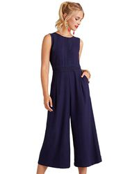 937a9962025 Yumi  - Navy Lace Insert Cropped Wide Leg Jumpsuit - Lyst