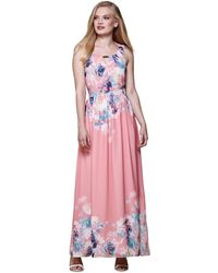 Yumi' Orange Floral Print Maxi Dress - Pink