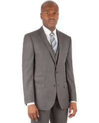 Ben Sherman - Grey Jaspe Check 2 Button Front Slim Fit Kings Suit Jacket - Lyst