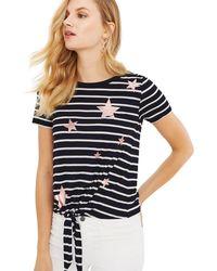 Oasis - Multi Star Foil Stripe Tie Front T-shirts - Lyst