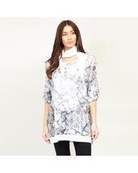 Izabel London Snake Print 3/4 Sleeves Top - Grey