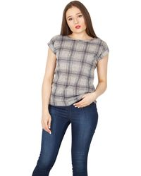 Izabel London - Grey Check Print T-shirt Top - Lyst