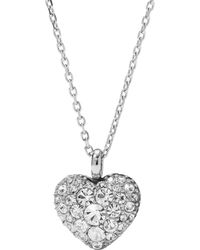Fossil - Silver Heart Crystal Necklace - Lyst