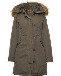 Quiz - Khaki Canvas Faux Fur Trim Jacket - Lyst
