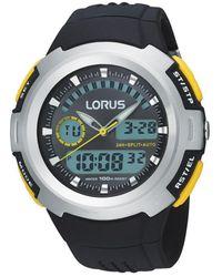 Lorus Men's Black Round Silver Bezel Digital Watch R2323dx9 - Metallic