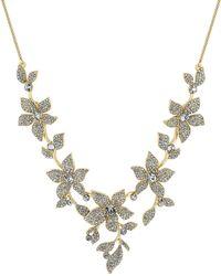 Jenny Packham - Designer Gold Crystal Floral Necklace - Lyst