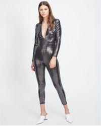 Miss Selfridge - Silver Sequin Catsuit - Lyst