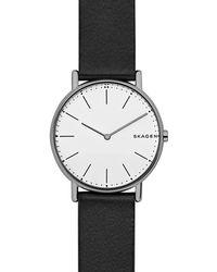 Skagen - Signatur Women's Leather Strap Watch - Lyst