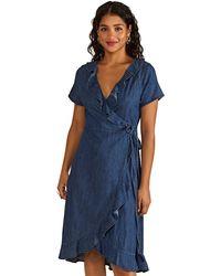 Yumi' Blue Cotton Denim 'emilia' Wrap Dress