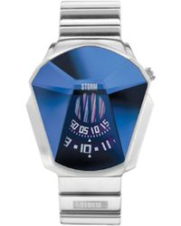 Storm - Men's Silver Faceted Glass Dial Bracelet Watch Darth Lzr Blue - Lyst