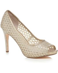 Début High Stiletto Heel Peep Toe Shoes - Metallic