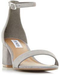 Steve Madden - Grey Suede 'new Irenee' Mid Block Heel Ankle Strap Sandals - Lyst
