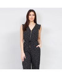Izabel London Tie Waist Polka Dot Printed Jumpsuit - Black