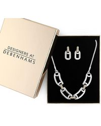 J By Jasper Conran - Silver And Gold Pave Link Jewellery Set - Lyst