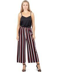 Izabel London - Wine Elasticated Striped Trousers - Lyst