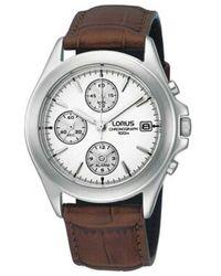 Lorus Men's White Chronograph Dial With Brown Strap Watch Rf325bx9
