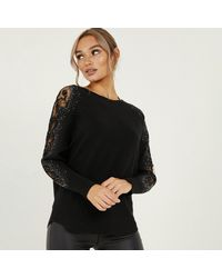 Quiz Black Knitted Lace Diamante Jumper