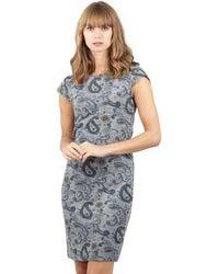 Izabel London - Grey Floral Print Zipped Back Tunic Dress - Lyst