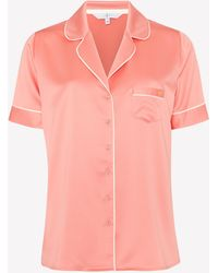 J By Jasper Conran Pink Woven Revere Pyjama Shirt